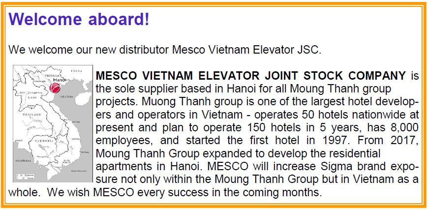 Công ty cổ phần thang máy Mesco Việt Nam trở thành nhà phân phối độc quyền mới của Sigma